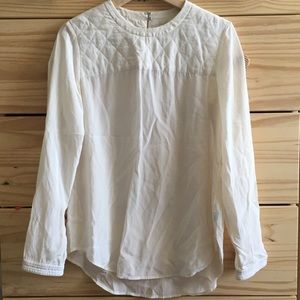 Madewell Silk Quilted Long Sleeve Blouse Shirt XS